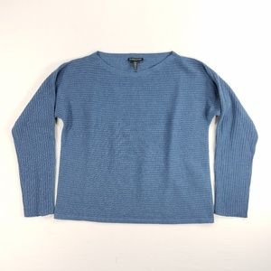 Eileen Fisher Pure Wool Top Shirt Blouse L/S Blue